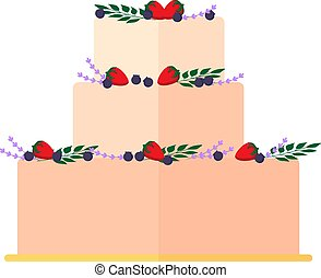 Wedding cakes with floral decoration isolated on a white background. Wedding pie