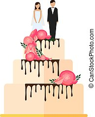 Wedding cakes with floral decoration isolated on a white background.