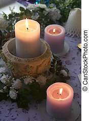 Wedding Candles - A beautiful table arrangement of candles,...