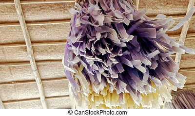 Wedding Canopy Decorated with Purple Tassels - wind shakes...