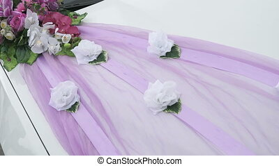 Wedding car decor in form of bouquet with ribbon - Merry...