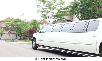 Wedding car decoration. Stretch limo. White limousine. White...