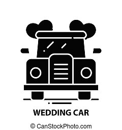 wedding car icon, black vector sign with editable strokes, concept illustration