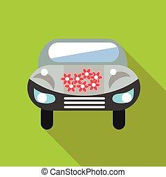 Wedding car icon, flat style