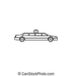 Wedding car icon, outline style