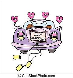 wedding car, just married,