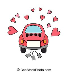 wedding car with cans love hearts