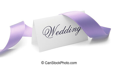 Wedding card and purple ribbon over a white background