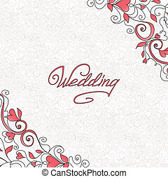 Wedding card - Background with hearts. Template of wedding ...