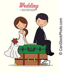 Bride and groom sitting on top of travel suitcases