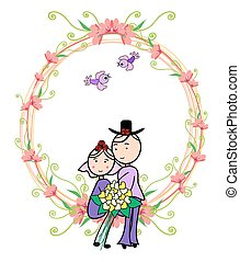 Wedding card bride and groom with beautiful flowers and bird