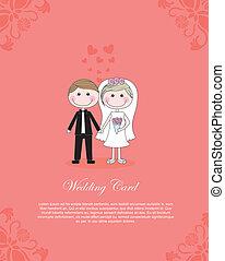 Wedding card - COuple illustration over pink background, ...