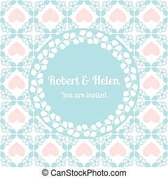 Wedding card cute pattern with floral frame