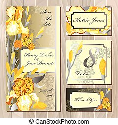 Wedding card design with yellow iris flowers.