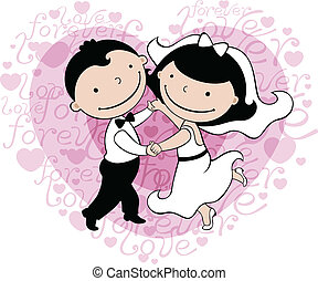 wedding card with dancing pair on background with heart