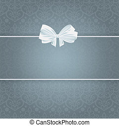 Wedding card for invitation with bow and panel for text.