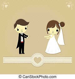 wedding card - groom and bride with lovely lable on brown ...