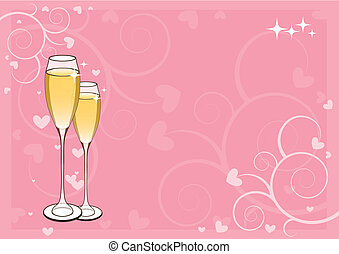 Wedding card - Pink horizontal wedding card with two glasses...