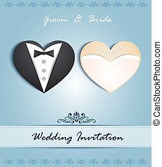 wedding card  in the form of heart