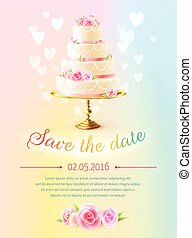 Wedding Card Invitation With Cake Realistic
