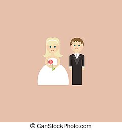 Wedding Card Invitation with newlyweds in flat. Vector