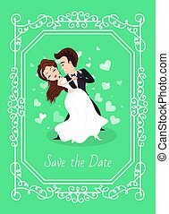 Dancing bride and groom, woman in white dress and man in suit standing together. Save date holiday postcard decorated by frame, wedding card vector