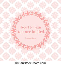 Wedding card template with floral frame