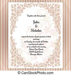 Wedding card template with frame and elegant design