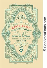 Wedding card. Vintage style with floral ornamnets