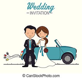Wedding couple in front of the car