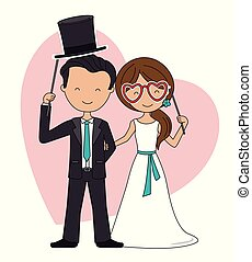 Wedding couple with glasses and hat accessories