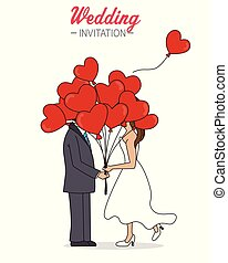 Wedding couple with heart-shaped balloons