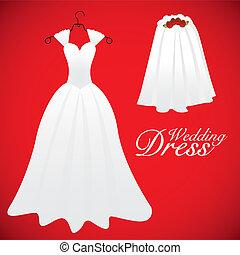 wedding card, wedding gowns, vector illustration