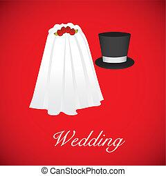 wedding card, wedding veil and groom hat