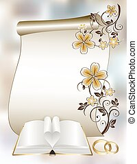 Wedding card with a floral pattern and book