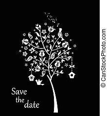 Wedding card with beautiful tree (black and white)