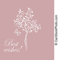 Wedding card with beautiful tree