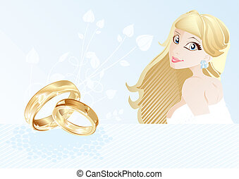 Wedding card with bride and rings, vector illustration