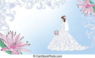 Wedding card with bride on a blue background