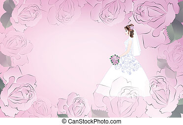 Wedding card with bride on a pink background