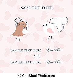 Wedding card with cute birds couple.