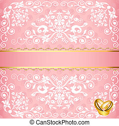 wedding card with floral pattern and rings