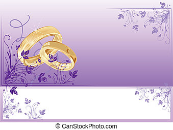 Wedding card with florals and copy-space, vector ...