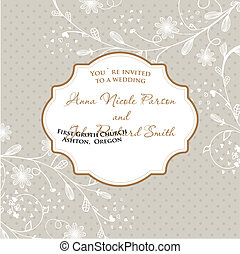 Wedding card with flowers on polka dot background
