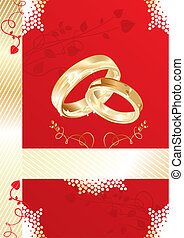 Wedding card with gold rings, vector illustration