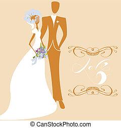 Wedding card with inscription LOVE