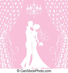 Wedding card with kissing groom and bride, curtains and ...