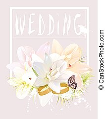 Wedding card with lily flowers