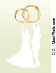 Wedding card with man and women and gold wedding rings in vector background illustration