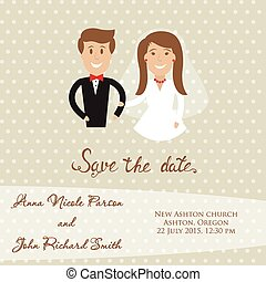 Wedding  card with newly wed couple. Save the date card with bride and groom